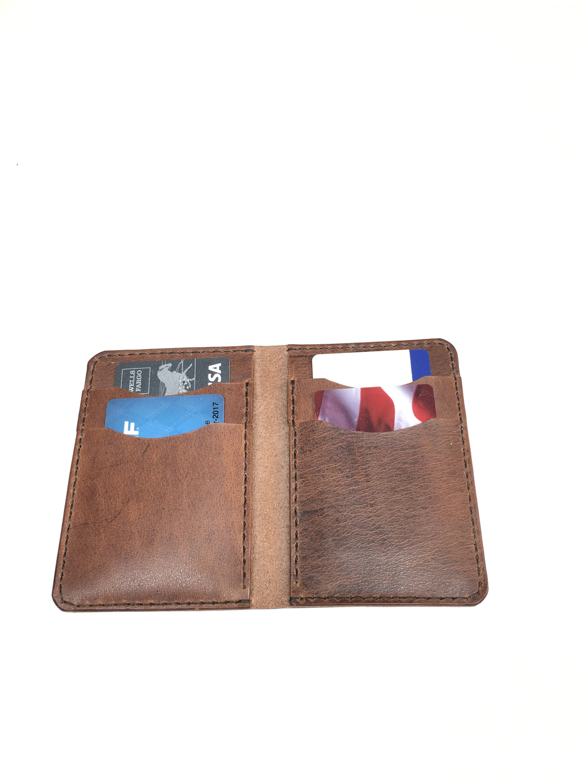 H+B CARD WALLET | VERTICAL WALLET BROWN LEATHER