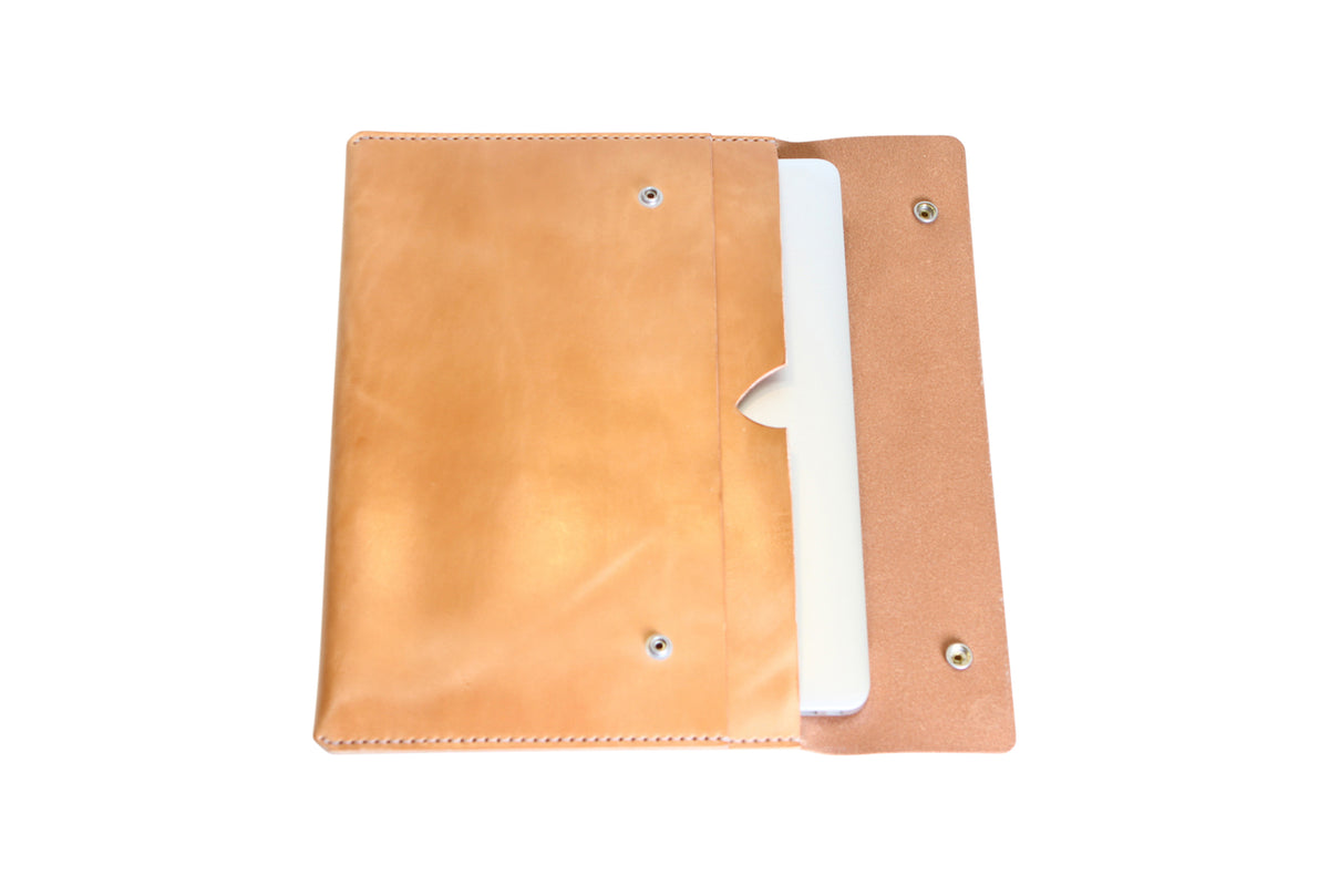 H+B LAPTOP CASE & FIELD NOTES POCKET | RUSSET LEATHER
