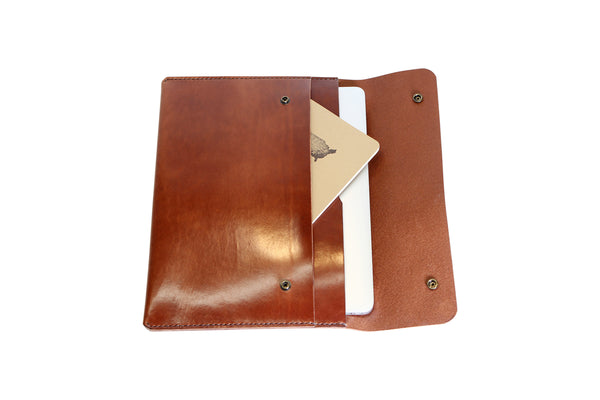 H+B LAPTOP CASE & FIELD NOTES POCKET | ESPRESSO BROWN LEATHER