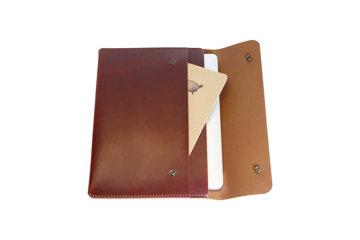 H+B LAPTOP CASE & FIELD NOTES POCKET | BURNT UMBER LEATHER