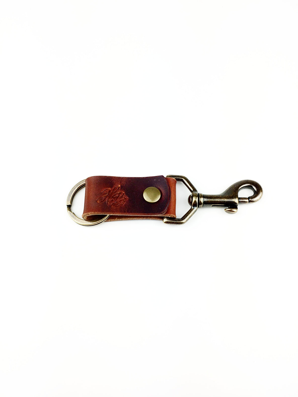 H+B KEY FOB | BURNT UMBER LEATHER KEY FOB