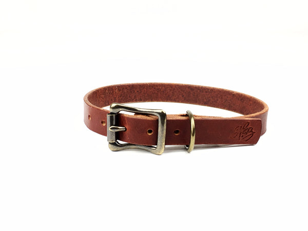 H+B DOG COLLAR | 3/4 INCH WIDE LEATHER DOG COLLAR