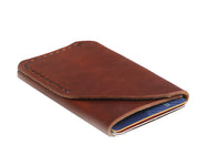 H+B CARD LEATHER WALLET | BURNT UMBER LEATHER WALLET