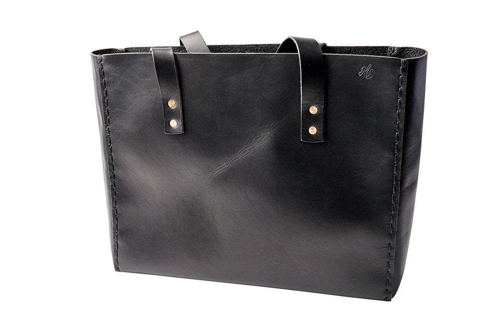 LEATHER TOTE BAG | H+B CLASSIC BLACK TOTE BAG