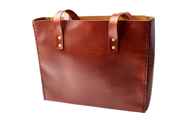 LEATHER TOTE BAG | H+B CLASSIC BURNT UMBER LEATHER TOTE BAG