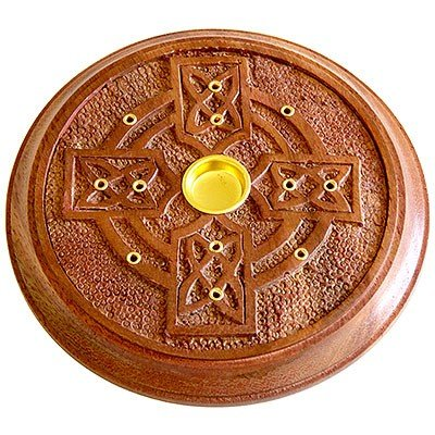 "Wooden Celtic Cross 5"" Round Incense Burner - Cones or Sticks"
