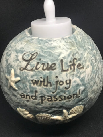 Live life with joy and passion Tealight holder - Mountain View Candle Works