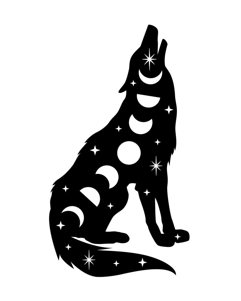 Moon phase Wolf Decal