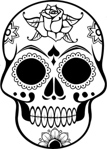 Rose Sugar Skull Decal
