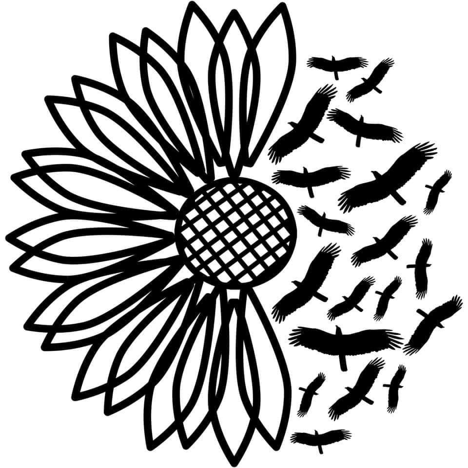 Raven Flower Decal