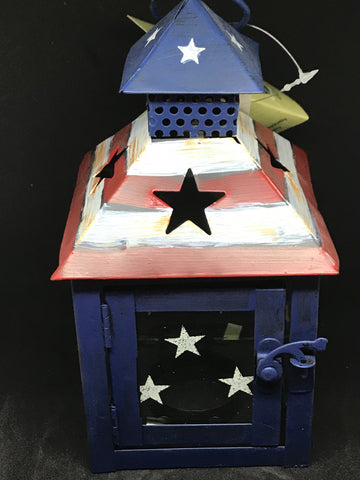 Patriotic metal lanterns etc - Mountain View Candle Works