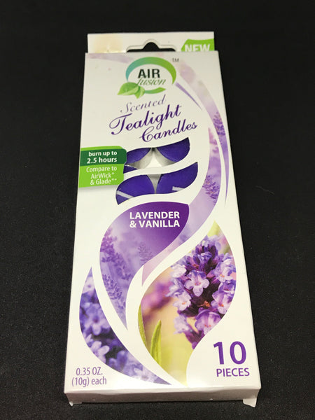 Air Fusion Scented Tea Light Candles 10ct Lavender Vanilla - Mountain View Candle Works