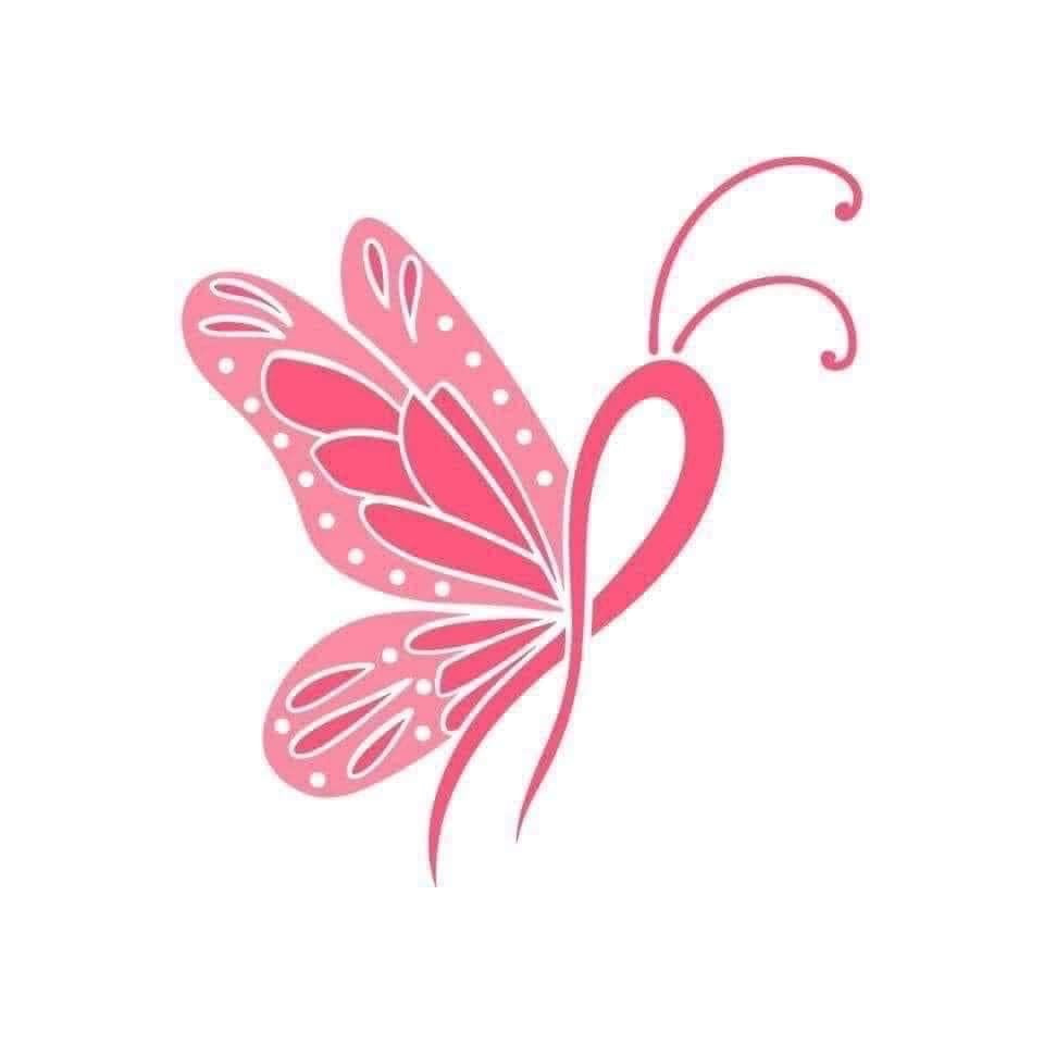 Pink Ribbon Butterfly Decal
