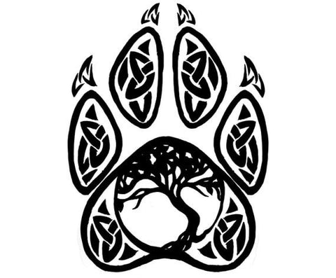 Tree of life wolf paw decal