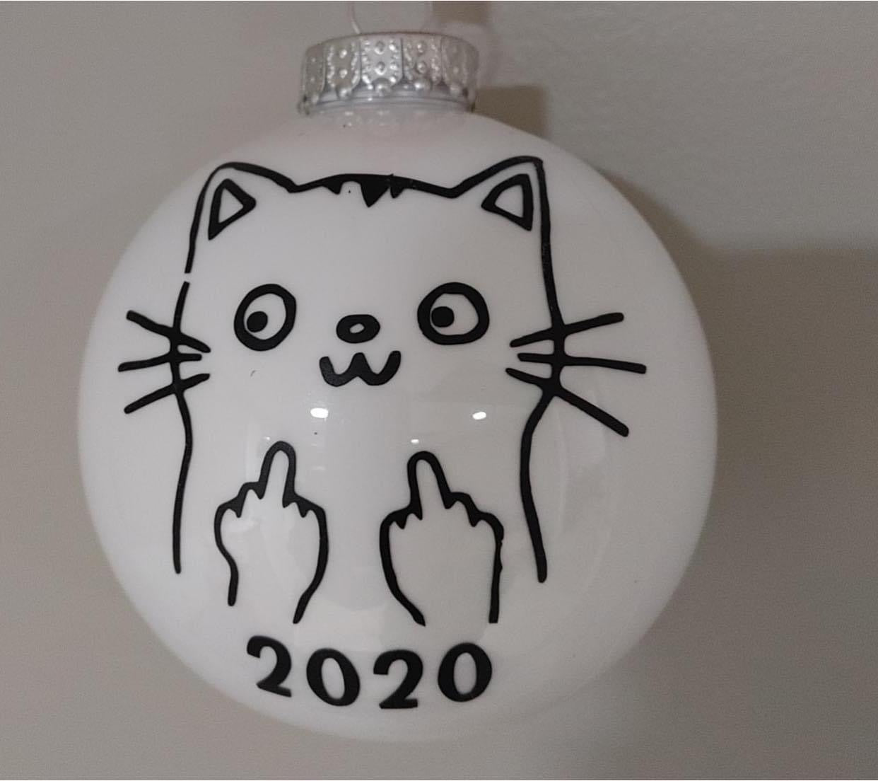 Middle finger cat 2020 ornament