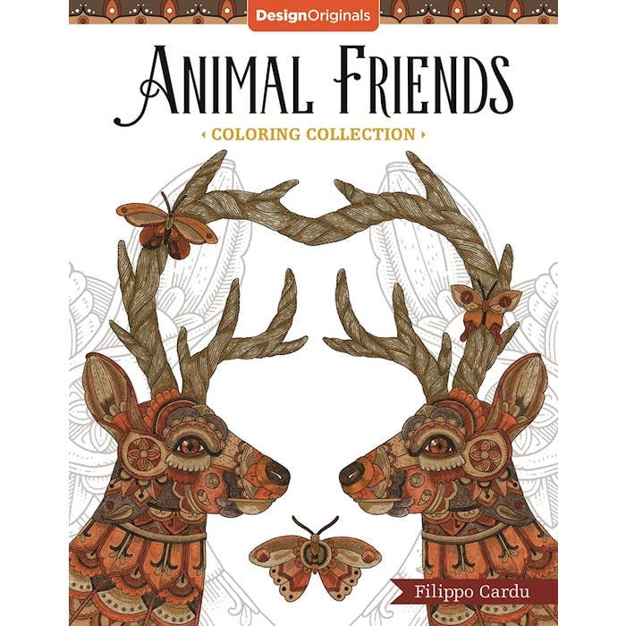 Animal friends adult coloring book
