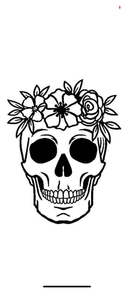 Flower Skull Decal