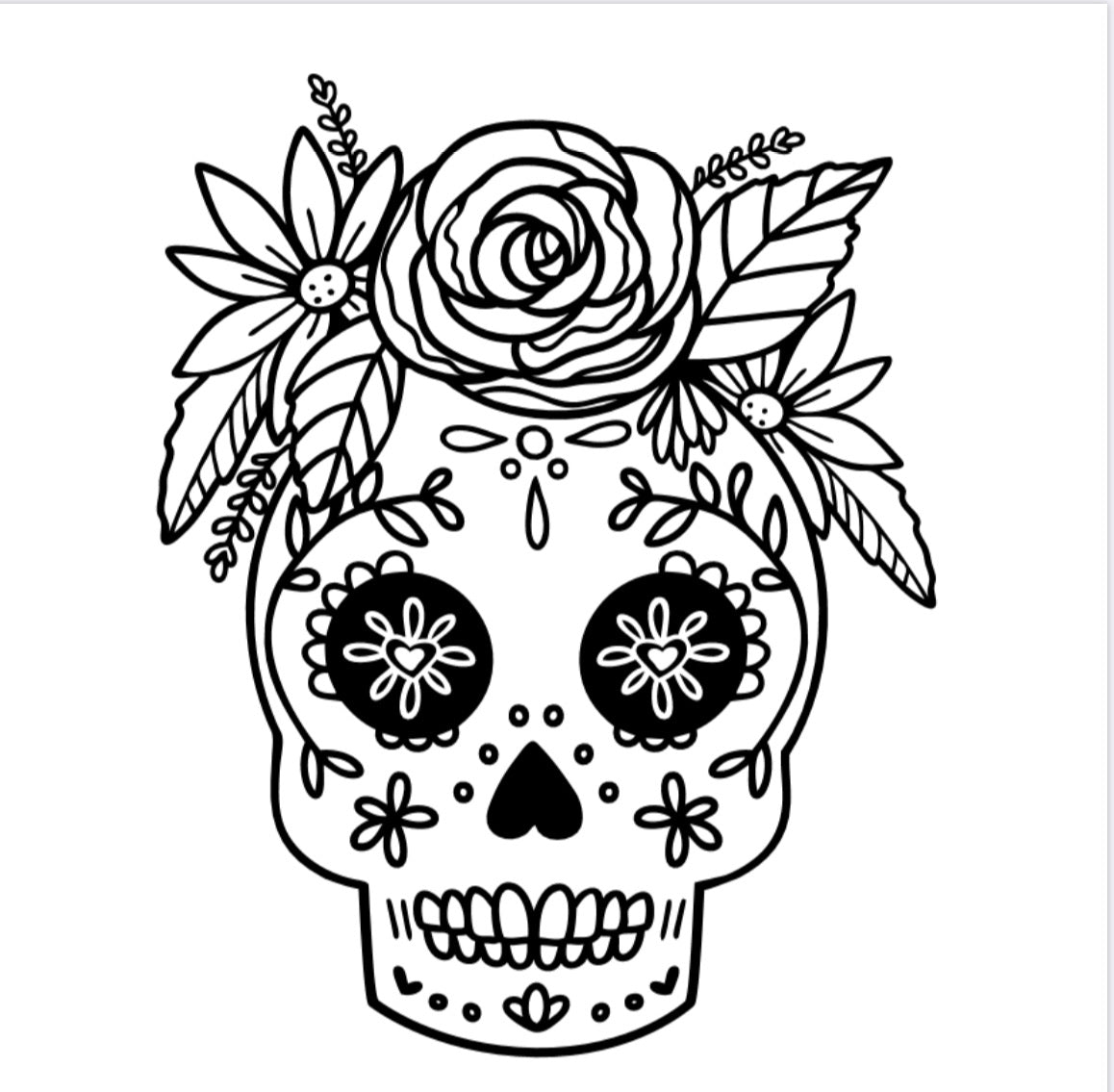 Flower Sugar Skull Decal