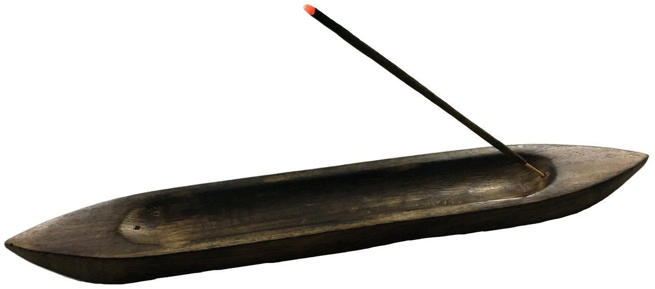 Wood Boat shaped Incense holder- 14 inch - Mountain View Candle Works