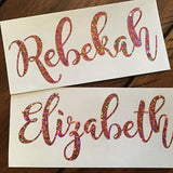 Holographic custom name decal