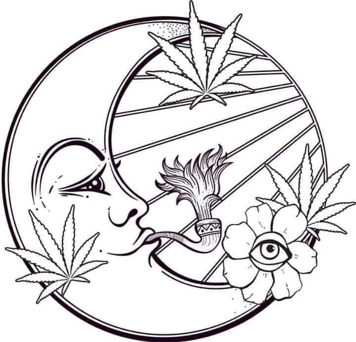 Weedy Moon Decal