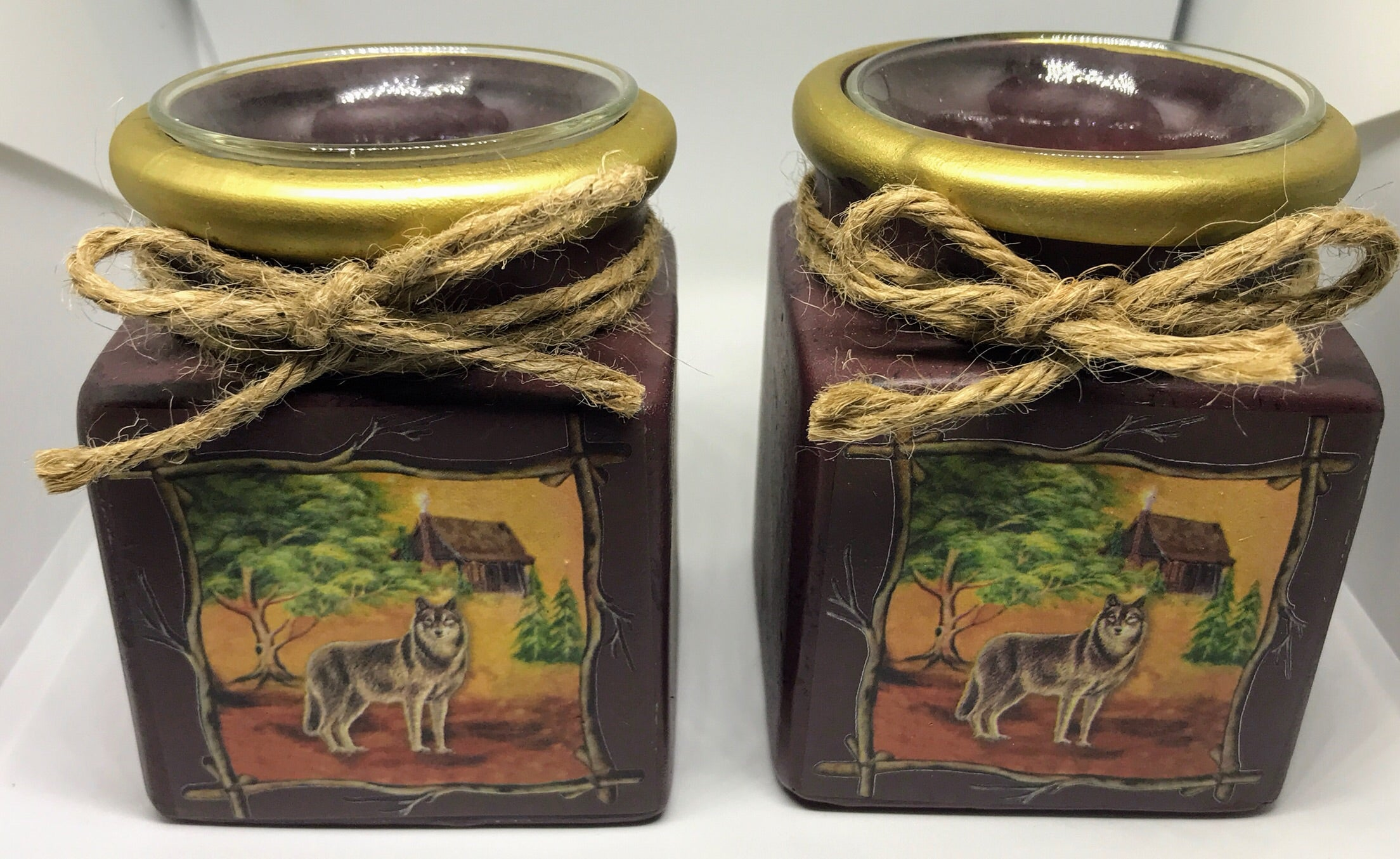Wolf Votive Holder set
