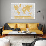 White and Gold Large Scratch off World Map Where We Have Been by Divalis