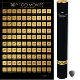"100 Movies Scratch Off Poster - Top Films of all Time Bucket List - 24x16"" - Must See Movie Challenge - 100 Essential Movies Scratch off Calendar"