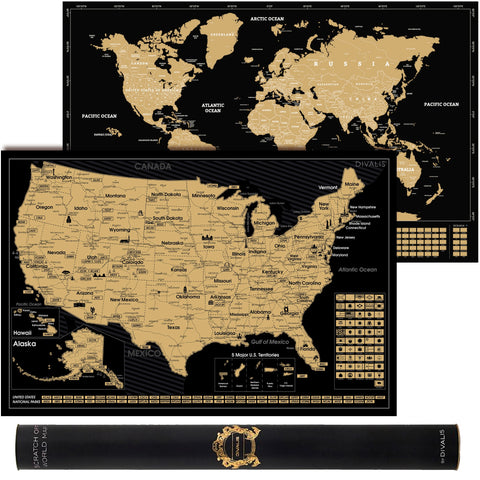 2 in 1 Gift Set - Scratch Off World Map and Scratch Off US Map - Easy to Frame Scratchable World and United States of America Posters