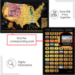 2 in 1 Gift Set - Scratch off USA Map with National Parks Poster Print - Scratchable US Travel Map