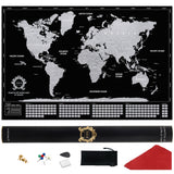 Black and Silver Large Scratch off World Map Where We Have Been by Divalis