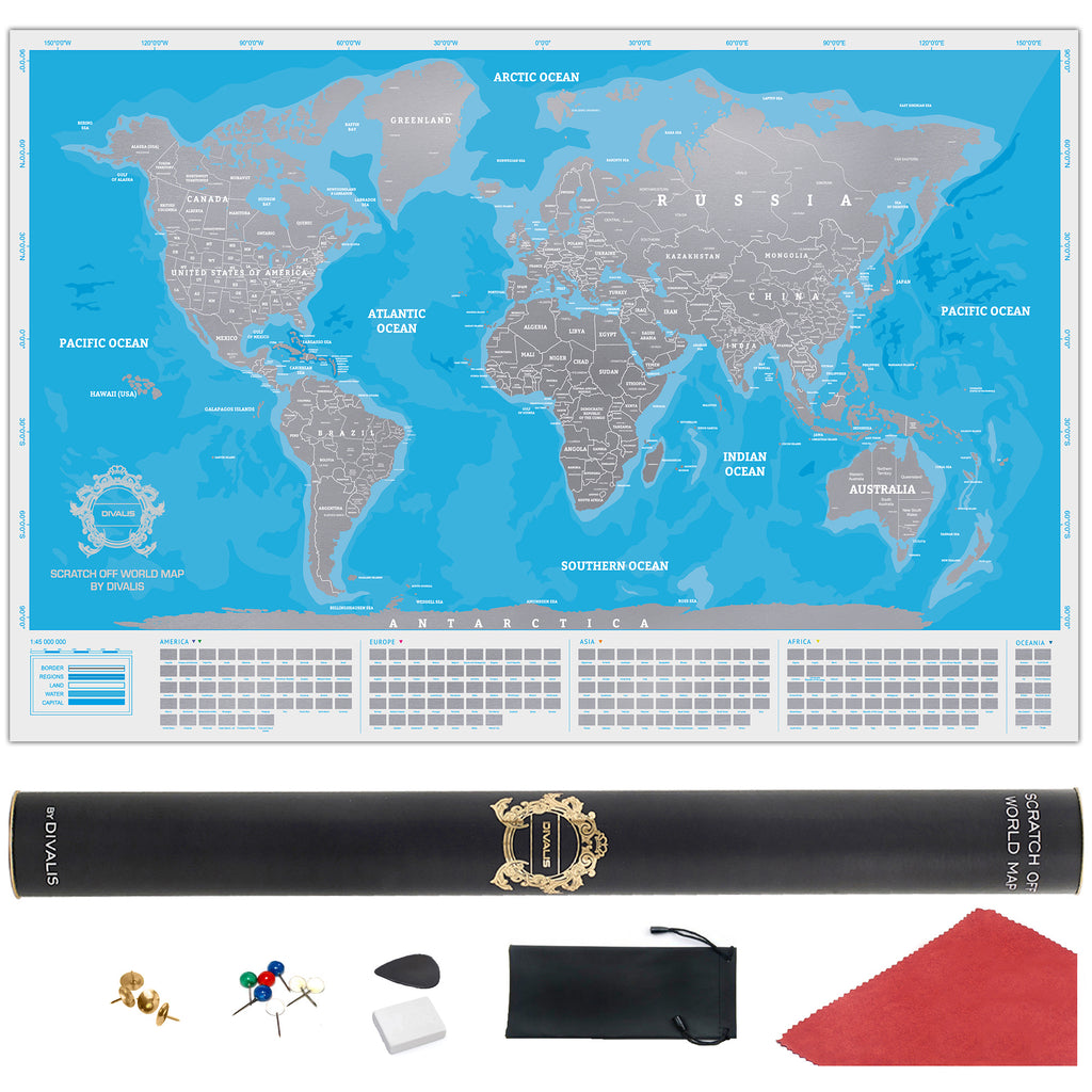 Blue And Silver Scratch Off World Map Scratchable Map Blue Silver