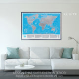 Searching for blue and silver scratch off world map to buy? Purchase our blue scratchable world map here. Discounted scratch off world maps - blue or silver. All blue travel maps and silver scratch maps available for purchase