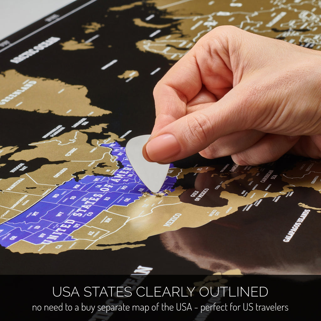 US-centered Scratch off World Map - Black Scratchable World Map ...