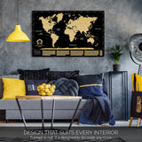 Gold and Black Scratch off World Map by Divalis