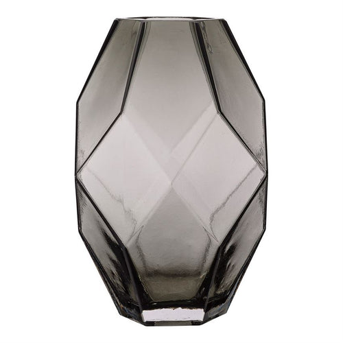Smoke Gray Glass Faceted Vase