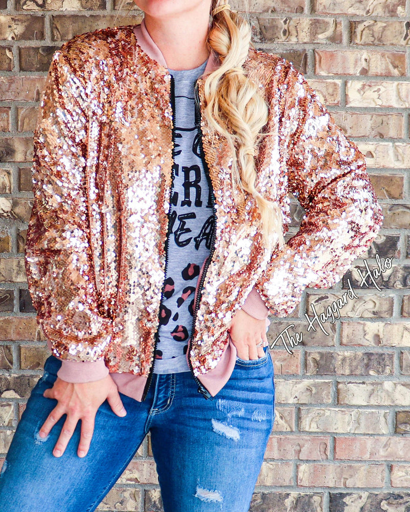 Rose Gold {Sequin} Bomber Jacket