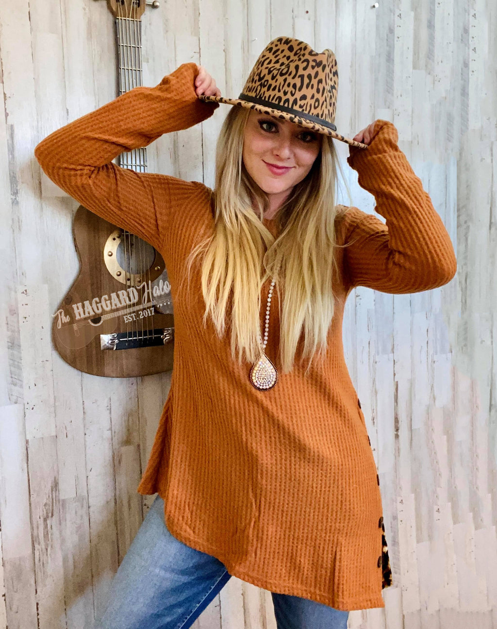 Leopard Slit Camel Tunic Top