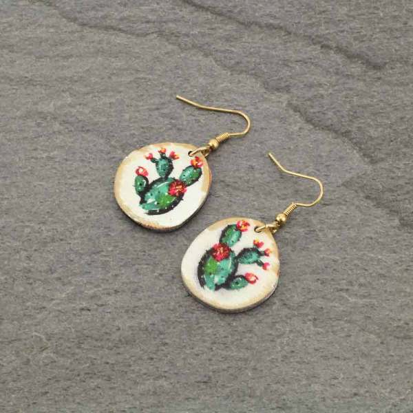 Petite Cactus *Wood Earrings