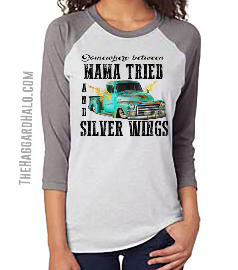 Somewhere Between MAMA TRIED & SILVER WING {3/4 Sleeve Raglan} Top