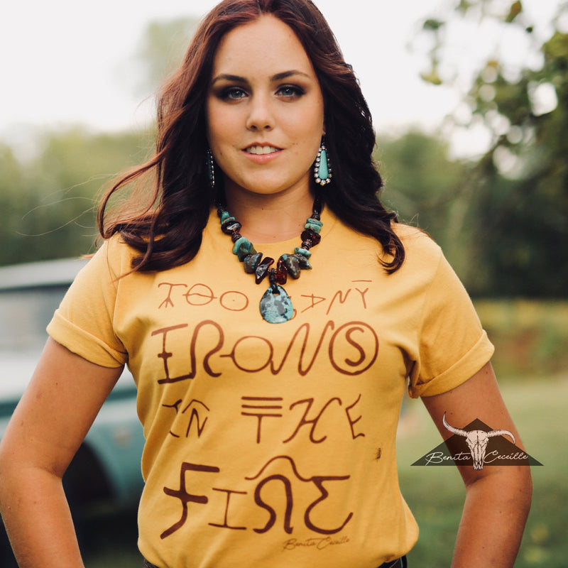 Too Many Irons T-Shirt Mustard, Benita Ceceille
