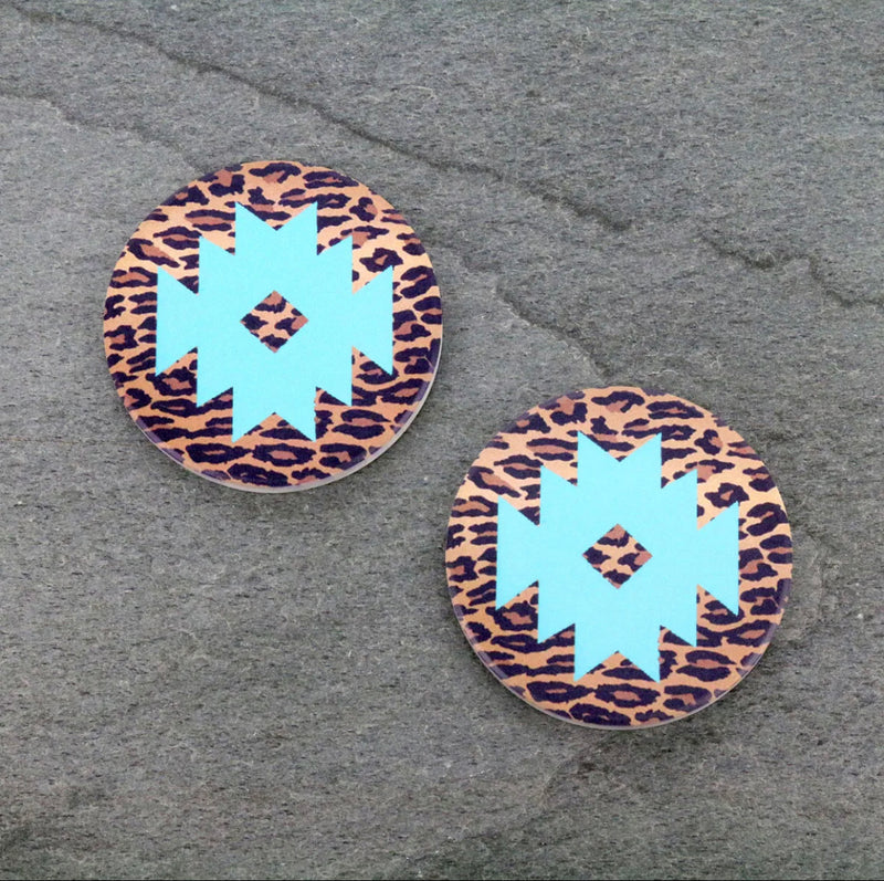Leopard Aztec * Ceramic Car Coasters