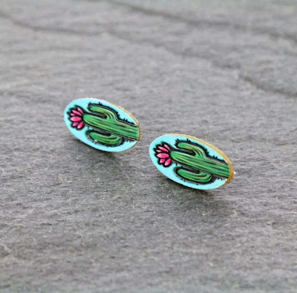 Cactus *Leather Stud Earrings