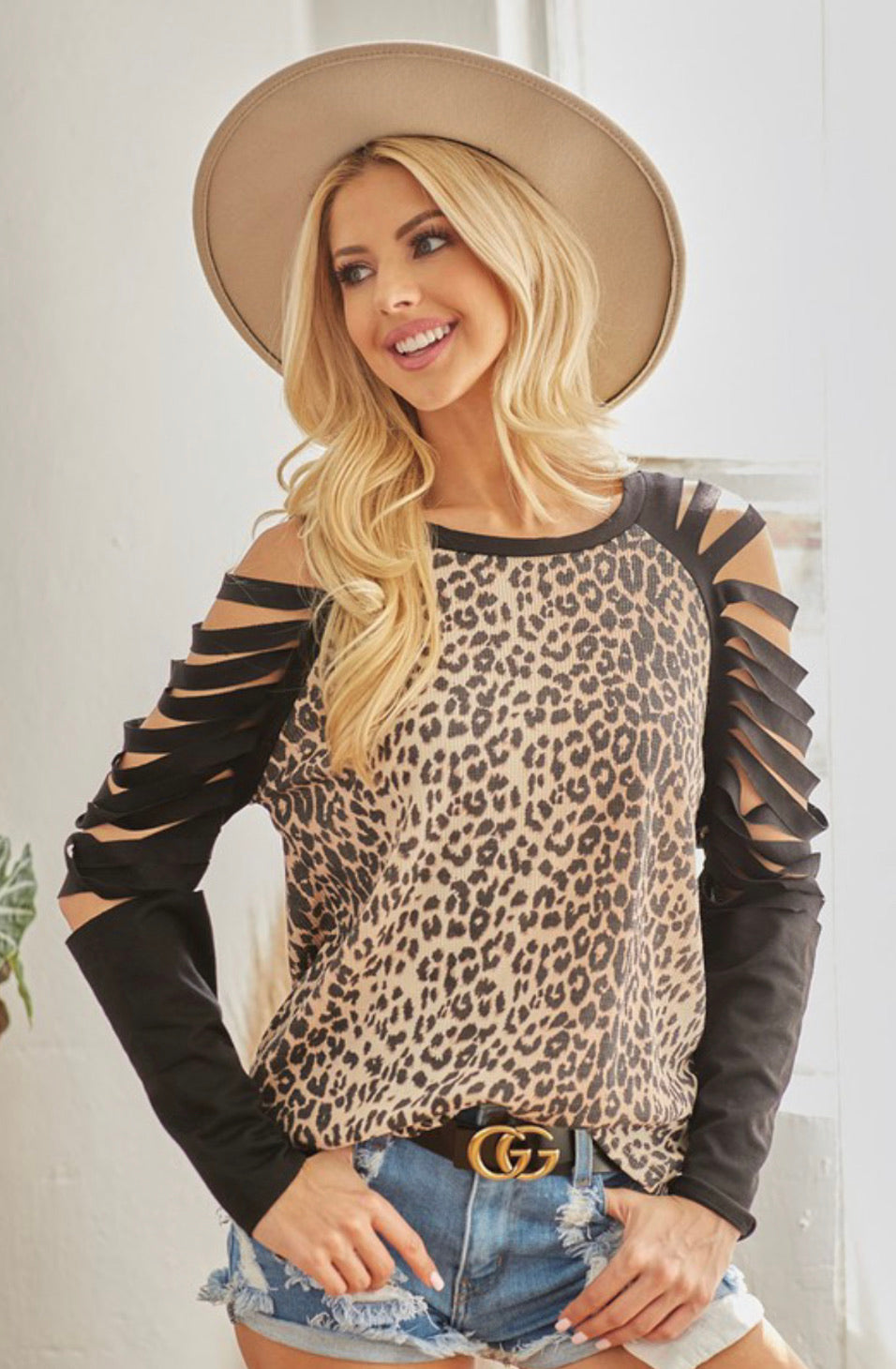 Shredded Sleeve Leopard Top