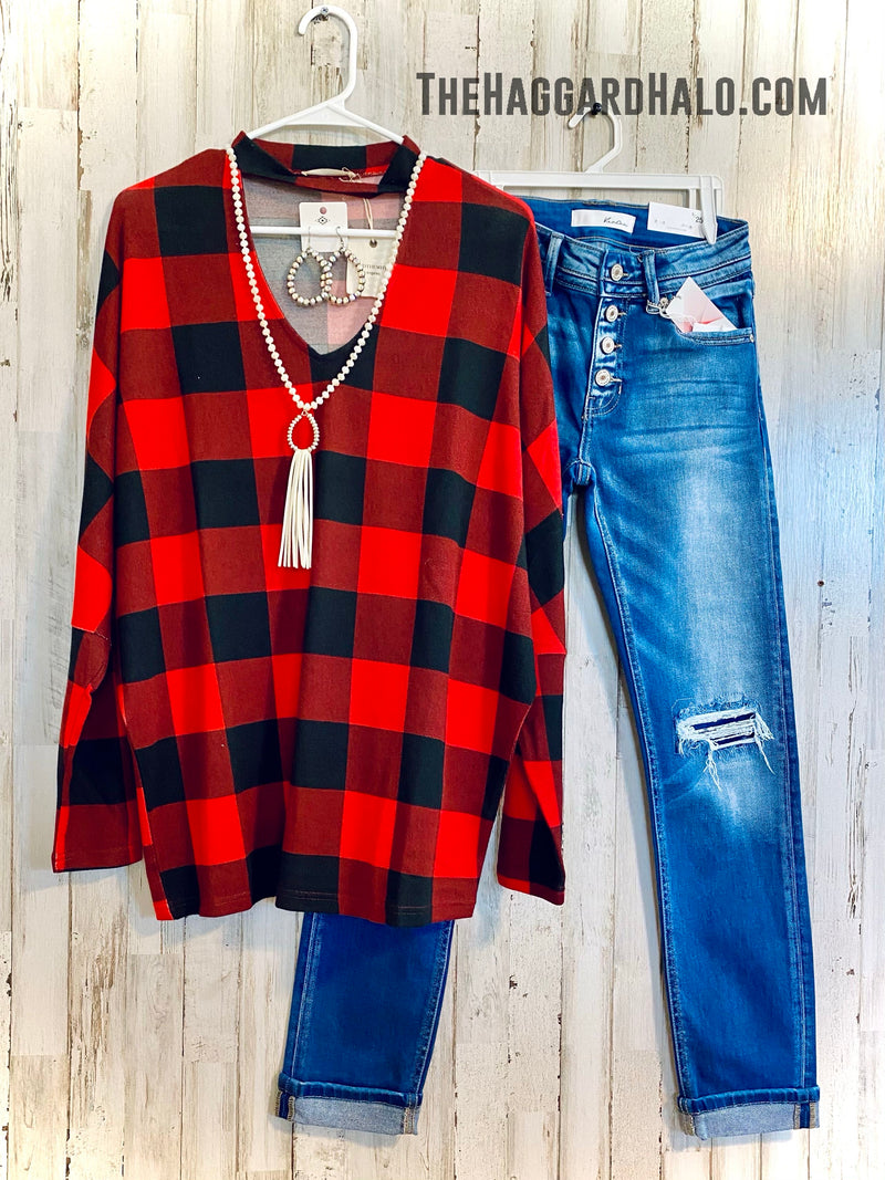 Buffalo Babe {Plaid} Choker Top