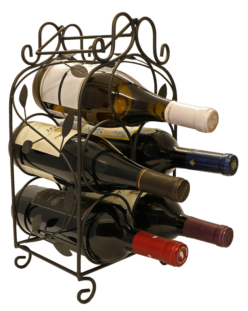 Rosabel™ 5 Bottle Metal Wine Rack for Tabletop or Countertop by KitchenEdge™, Free Standing, Matte Black Metallic Finish
