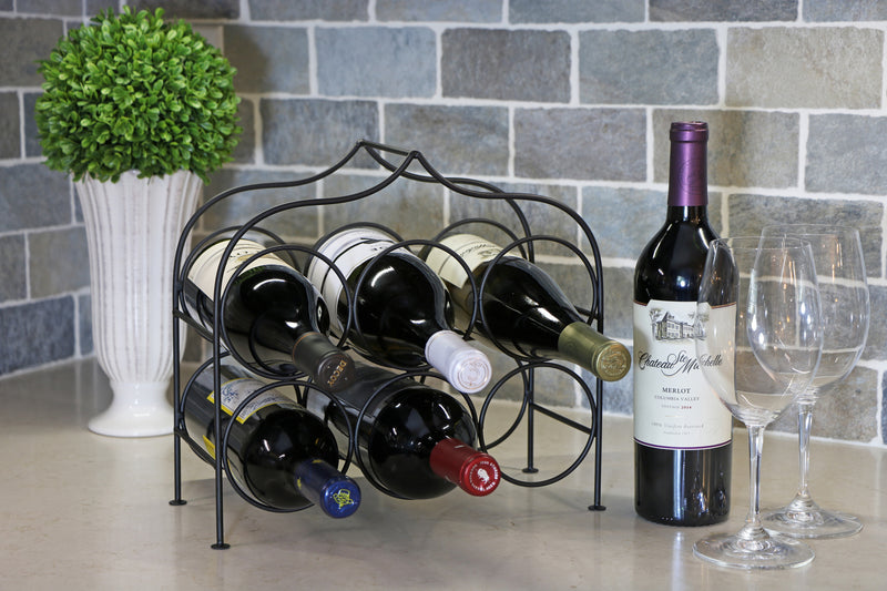 Clarabel™ 6 Bottle Metal Wine Rack for Tabletop or Countertop by KitchenEdge, Free Standing, Matte Black Metallic Finish