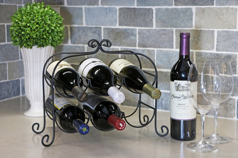 Annabel™ 6 Bottle Metal Wine Rack for Tabletop or Countertop by KitchenEdge, Free Standing, Matte Black Metallic Finish