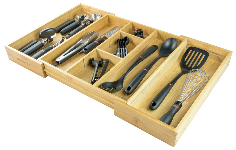 KitchenEdge Adjustable Kitchen Drawer Organizer for Utensils and Junk, Expandable to 28 Inches Wide, 9 Compartments, 100% Bamboo