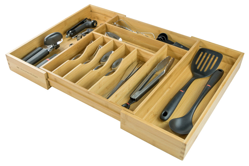 KitchenEdge Premium Silverware, Flatware and Utensil Organizer for Kitchen Drawers, Expandable to 25 Inches Wide, 10 Compartments, 100% Bamboo
